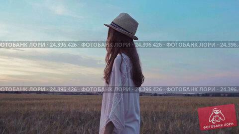 Купить «Woman in a field in slow motion», видеоролик № 24396426, снято 7 декабря 2016 г. (c) Raev Denis / Фотобанк Лори