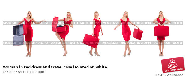 Купить «Woman in red dress and travel case isolated on white», фото № 29458658, снято 30 ноября 2013 г. (c) Elnur / Фотобанк Лори