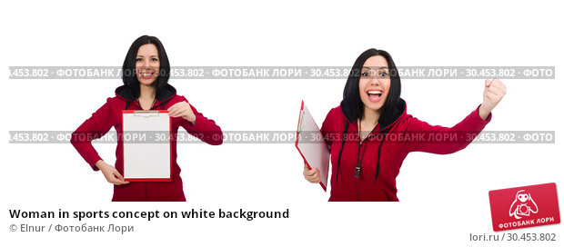 Woman in sports concept on white background. Стоковое фото, фотограф Elnur / Фотобанк Лори