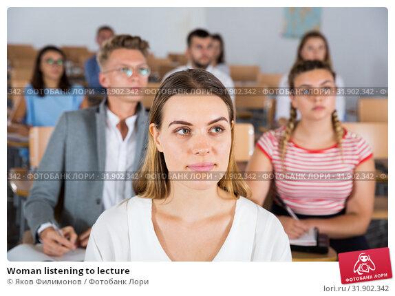 Купить «Woman listening to lecture», фото № 31902342, снято 25 июля 2018 г. (c) Яков Филимонов / Фотобанк Лори