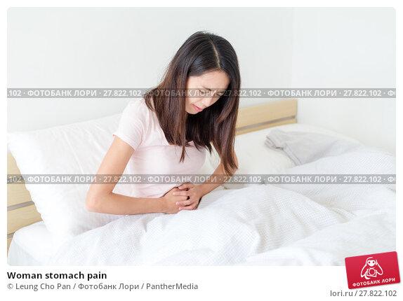 Купить «Woman stomach pain», фото № 27822102, снято 16 октября 2018 г. (c) PantherMedia / Фотобанк Лори