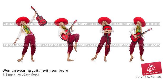 Woman wearing guitar with sombrero. Стоковое фото, фотограф Elnur / Фотобанк Лори