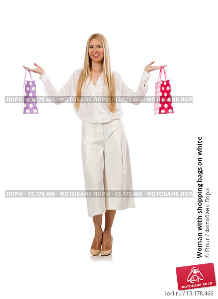 Купить «Woman with shopping bags on white», фото № 13178466, снято 7 июля 2015 г. (c) Elnur / Фотобанк Лори