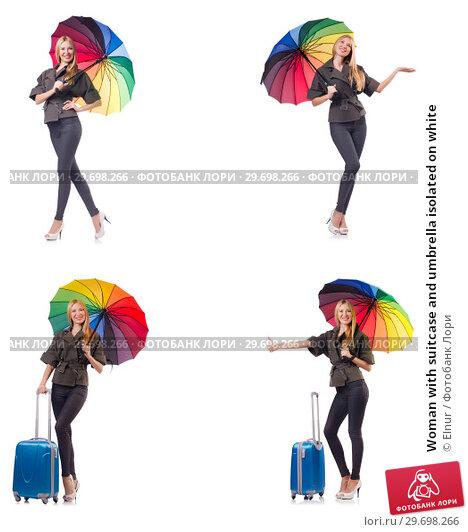 Купить «Woman with suitcase and umbrella isolated on white», фото № 29698266, снято 20 февраля 2019 г. (c) Elnur / Фотобанк Лори