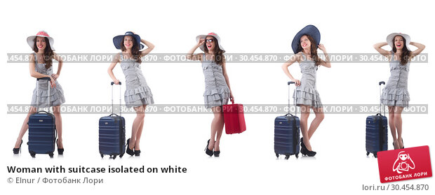 Woman with suitcase isolated on white. Стоковое фото, фотограф Elnur / Фотобанк Лори