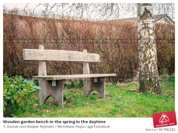 Wooden garden bench in the spring in the daytime. Стоковое фото, фотограф Zoonar.com/Kasper Nymann / age Fotostock / Фотобанк Лори