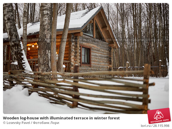 Купить «Wooden log-house with illuminated terrace in winter forest», фото № 28115998, снято 4 февраля 2017 г. (c) Losevsky Pavel / Фотобанк Лори