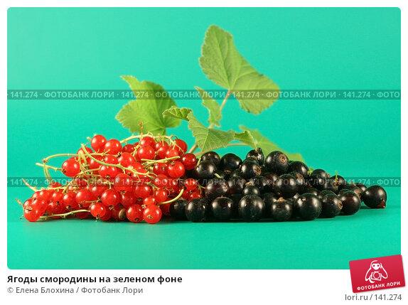 Купить «Ягоды смородины на зеленом фоне», фото № 141274, снято 1 июля 2007 г. (c) Елена Блохина / Фотобанк Лори