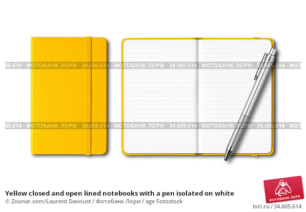 Yellow closed and open lined notebooks with a pen isolated on white. Стоковое фото, фотограф Zoonar.com/Laurent Davoust / age Fotostock / Фотобанк Лори