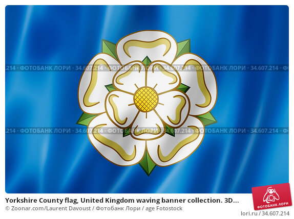 Yorkshire County flag, United Kingdom waving banner collection. 3D... Стоковое фото, фотограф Zoonar.com/Laurent Davoust / age Fotostock / Фотобанк Лори