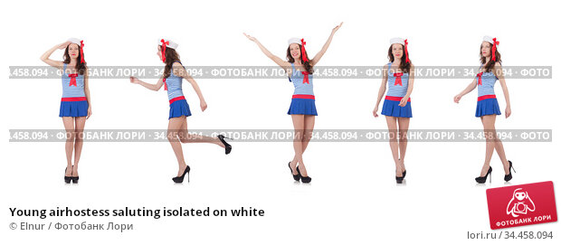 Young airhostess saluting isolated on white. Стоковое фото, фотограф Elnur / Фотобанк Лори
