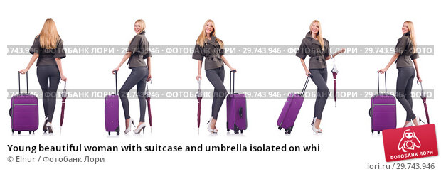 Купить «Young beautiful woman with suitcase and umbrella isolated on whi», фото № 29743946, снято 23 февраля 2019 г. (c) Elnur / Фотобанк Лори