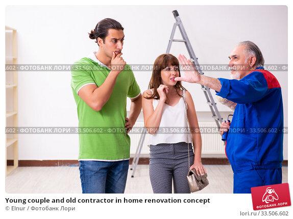 Купить «Young couple and old contractor in home renovation concept», фото № 33506602, снято 2 сентября 2019 г. (c) Elnur / Фотобанк Лори