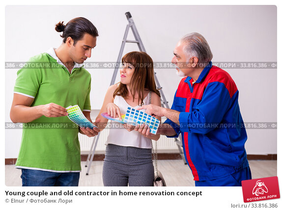 Купить «Young couple and old contractor in home renovation concept», фото № 33816386, снято 2 сентября 2019 г. (c) Elnur / Фотобанк Лори