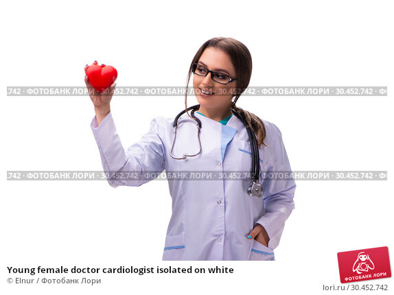 Young female doctor cardiologist isolated on white. Стоковое фото, фотограф Elnur / Фотобанк Лори