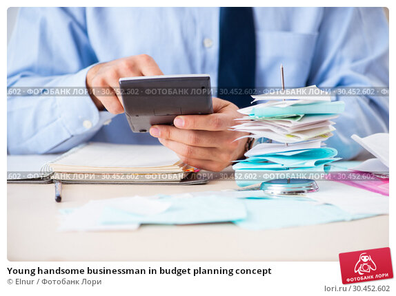 Young handsome businessman in budget planning concept. Стоковое фото, фотограф Elnur / Фотобанк Лори