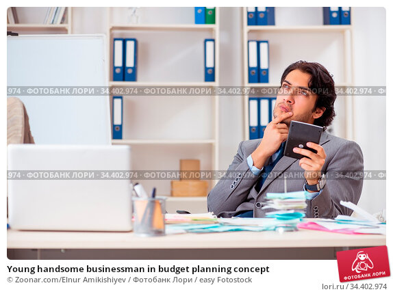 Young handsome businessman in budget planning concept. Стоковое фото, фотограф Zoonar.com/Elnur Amikishiyev / easy Fotostock / Фотобанк Лори