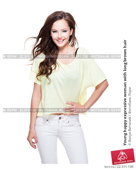 Купить «Young happy expressive woman with long brown hair», фото № 22311130, снято 17 мая 2014 г. (c) Валуа Виталий / Фотобанк Лори