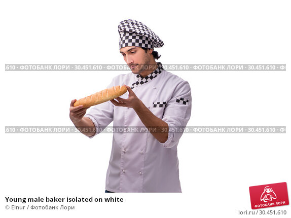 Young male baker isolated on white. Стоковое фото, фотограф Elnur / Фотобанк Лори