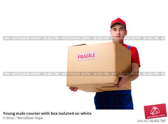Young male courier with box isolated on white. Стоковое фото, фотограф Elnur / Фотобанк Лори