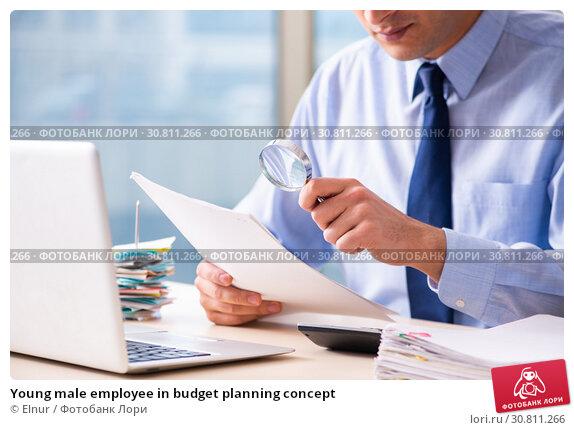Купить «Young male employee in budget planning concept», фото № 30811266, снято 17 декабря 2018 г. (c) Elnur / Фотобанк Лори