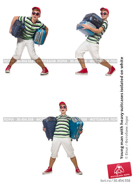 Young man with heavy suitcases isolated on white. Стоковое фото, фотограф Elnur / Фотобанк Лори