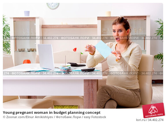 Young pregnant woman in budget planning concept. Стоковое фото, фотограф Zoonar.com/Elnur Amikishiyev / easy Fotostock / Фотобанк Лори