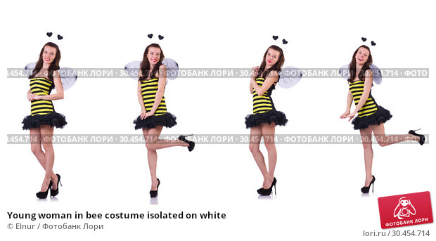 Young woman in bee costume isolated on white. Стоковое фото, фотограф Elnur / Фотобанк Лори