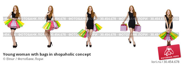 Young woman wth bags in shopaholic concept. Стоковое фото, фотограф Elnur / Фотобанк Лори