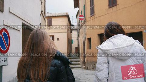 Купить «Young women walking down the street and talking. Back view», видеоролик № 30923994, снято 17 июня 2019 г. (c) Константин Шишкин / Фотобанк Лори