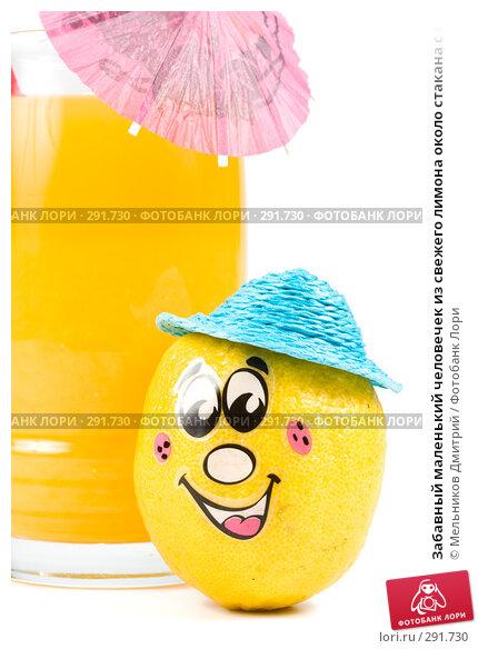 Забавный маленький человечек из свежего лимона около стакана с соком, фото № 291730, снято 2 мая 2008 г. (c) Мельников Дмитрий / Фотобанк Лори