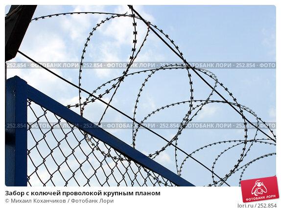 Забор с колючей проволокой крупным планом, фото № 252854, снято 12 апреля 2008 г. (c) Михаил Коханчиков / Фотобанк Лори