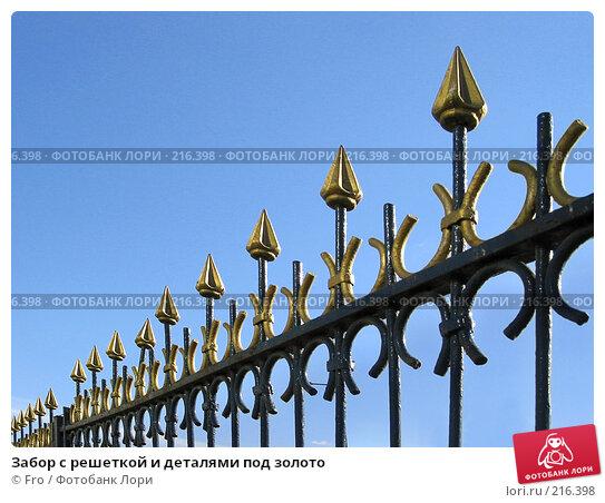 Забор с решеткой и деталями под золото, фото № 216398, снято 3 апреля 2004 г. (c) Fro / Фотобанк Лори