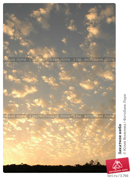 Купить «Закатное небо», фото № 3766, снято 4 июня 2006 г. (c) Юлия Яковлева / Фотобанк Лори