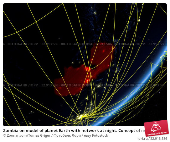 Zambia on model of planet Earth with network at night. Concept of new technology, communication and travel. 3D illustration. Elements of this image furnished by NASA. Стоковое фото, фотограф Zoonar.com/Tomas Griger / easy Fotostock / Фотобанк Лори