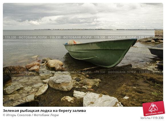 Зеленая рыбацкая лодка на берегу залива, фото № 119330, снято 25 мая 2017 г. (c) Игорь Соколов / Фотобанк Лори