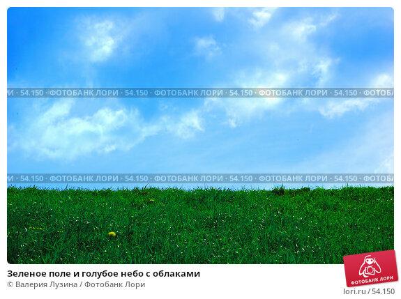 Зеленое поле и голубое небо с облаками, фото № 54150, снято 1 июня 2007 г. (c) Валерия Потапова / Фотобанк Лори
