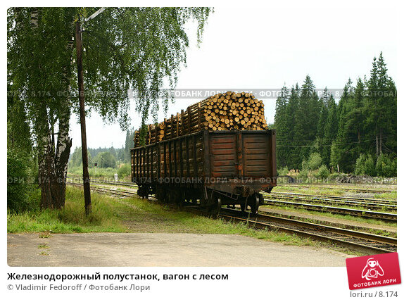 Железнодорожный полустанок, вагон с лесом, фото № 8174, снято 21 августа 2005 г. (c) Vladimir Fedoroff / Фотобанк Лори