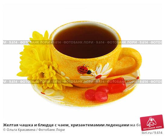 Купить «Желтая чашка и блюдце с чаем, хризантемамии леденцами на белом, изолированные», фото № 9614, снято 29 июня 2006 г. (c) Ольга Красавина / Фотобанк Лори