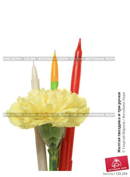 Желтая гвоздика и три ручки, фото № 129294, снято 4 апреля 2007 г. (c) Георгий Марков / Фотобанк Лори