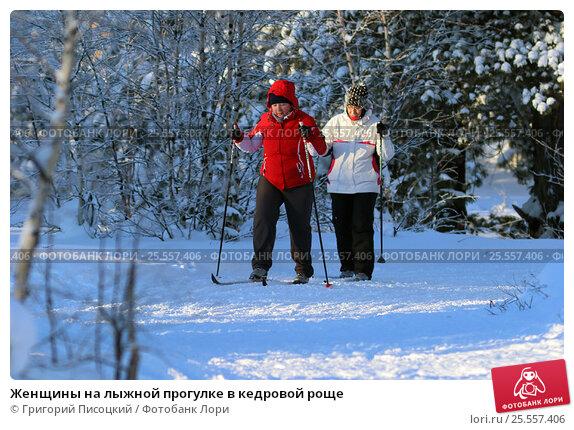 Женщины на лыжной прогулке в кедровой роще (2017 год). Редакционное фото, фотограф Григорий Писоцкий / Фотобанк Лори