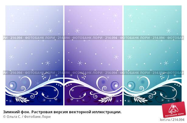 Купить «Зимний фон. Растровая версия векторной иллюстрации.», иллюстрация № 214094 (c) Ольга С. / Фотобанк Лори