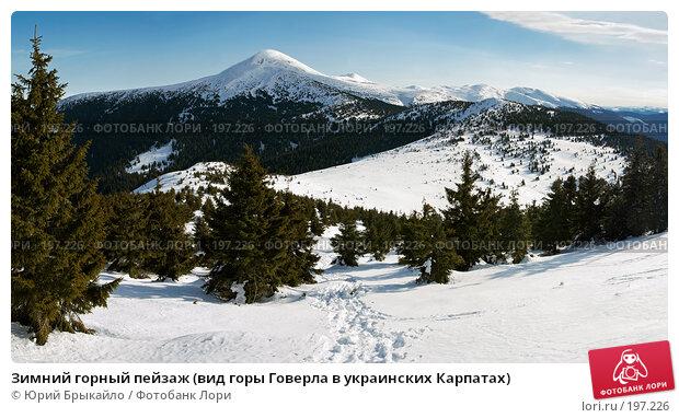 Зимний горный пейзаж (вид горы Говерла в украинских Карпатах), фото № 197226, снято 23 марта 2017 г. (c) Юрий Брыкайло / Фотобанк Лори