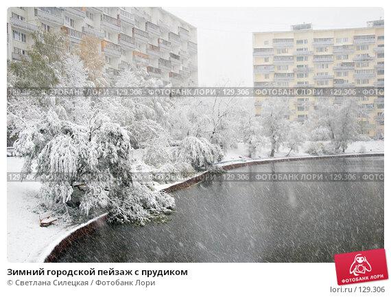 Зимний городской пейзаж с прудиком, фото № 129306, снято 15 октября 2007 г. (c) Светлана Силецкая / Фотобанк Лори
