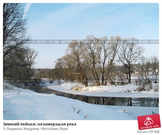 Купить «Зимний пейзаж: незамерзшая река», фото № 97438, снято 5 января 2006 г. (c) Людмила Жмурина / Фотобанк Лори
