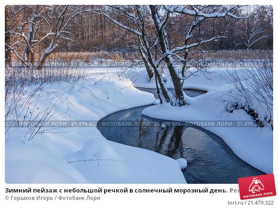 Купить «Зимний пейзаж с небольшой речкой в солнечный морозный день. Река Серебрянка в Измайловском лесопарке в Москве», фото № 21479322, снято 24 января 2016 г. (c) Горшков Игорь / Фотобанк Лори