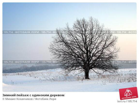 Зимний пейзаж с одиноким деревом, фото № 195714, снято 2 февраля 2008 г. (c) Михаил Коханчиков / Фотобанк Лори
