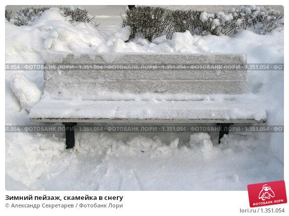 Купить «Зимний пейзаж, скамейка в снегу», фото № 1351054, снято 2 января 2010 г. (c) Александр Секретарев / Фотобанк Лори