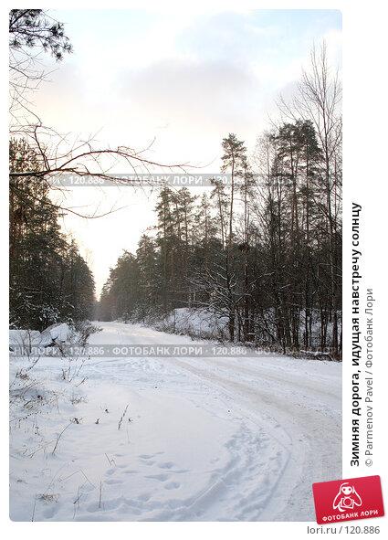 Зимняя дорога, идущая навстречу солнцу, фото № 120886, снято 18 ноября 2007 г. (c) Parmenov Pavel / Фотобанк Лори