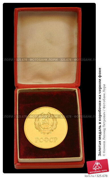 Золотая медаль в коробочке на черном фоне, фото № 325678, снято 28 марта 2017 г. (c) Коннов Леонид Петрович / Фотобанк Лори